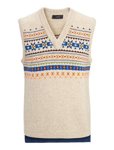 Fair Isle Knit V Neck Sleveless Sweater, in BEIGE, large | on Joseph