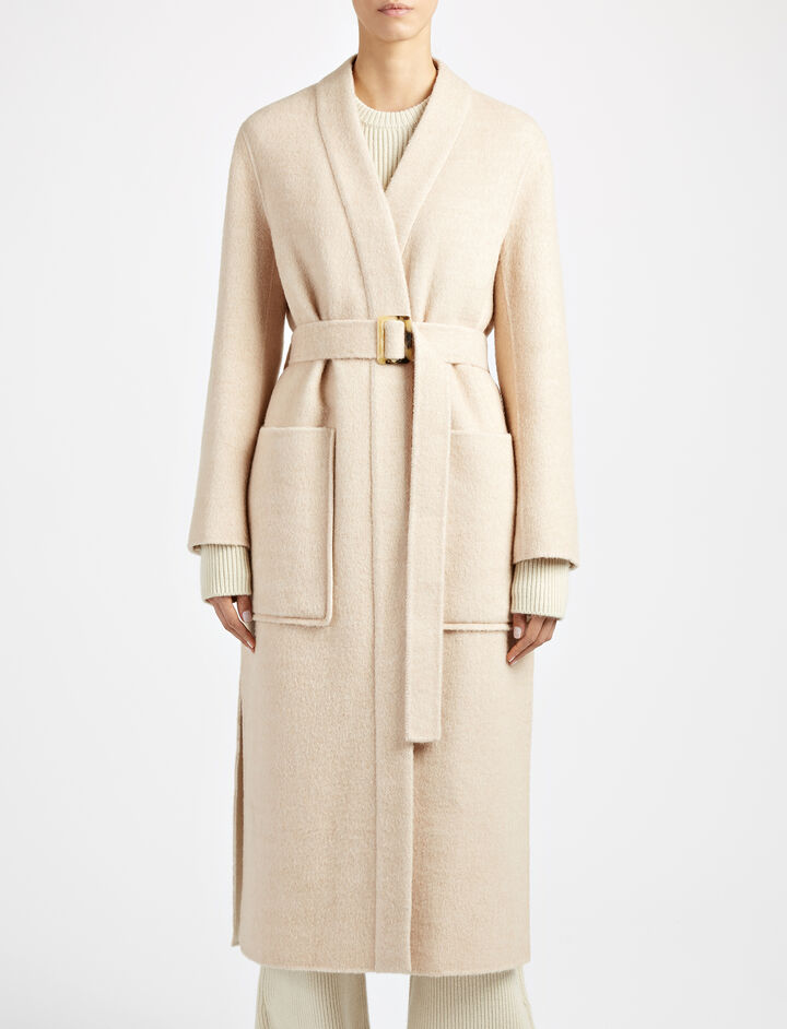 Wool Lama West Coat, in FONDANT CHINÉ, large   on Joseph