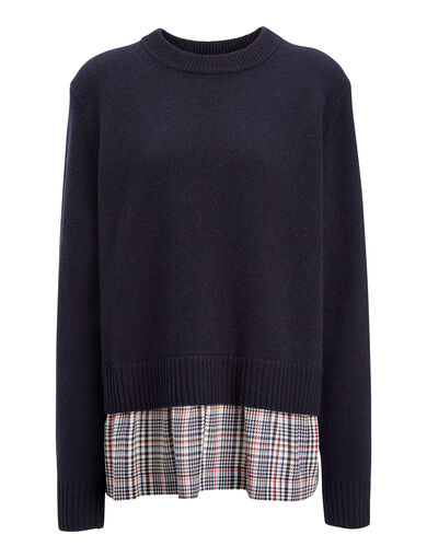 Wo Cash + Check Mate Sweater, in NAVY, large | on Joseph
