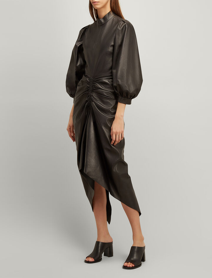 Paper Nappa Leather Fay Dress, in BLACK, large | on Joseph
