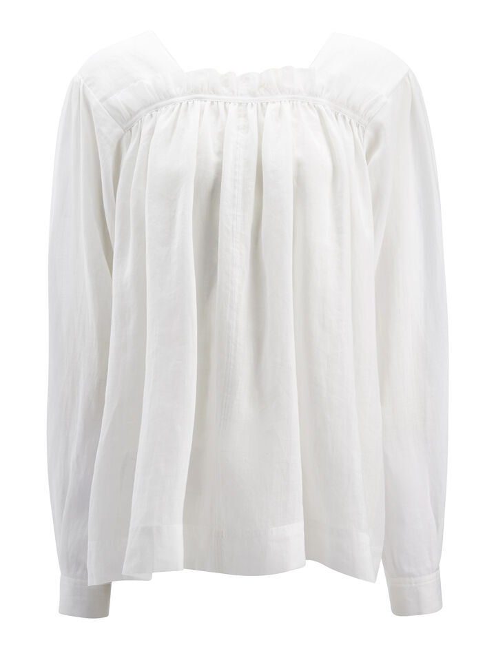 Ramie Voile Vivien Blouse, in WHITE, large | on Joseph