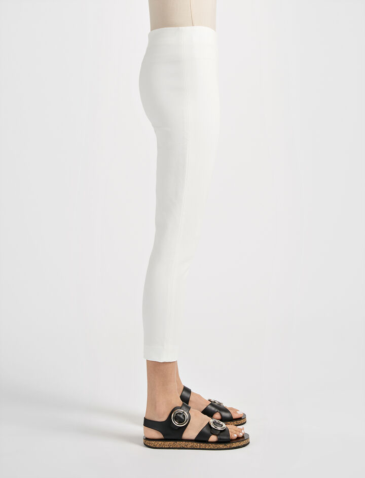 Gabardine Stretch New Tony Cropped Trouser, in OFF WHITE, large | on Joseph