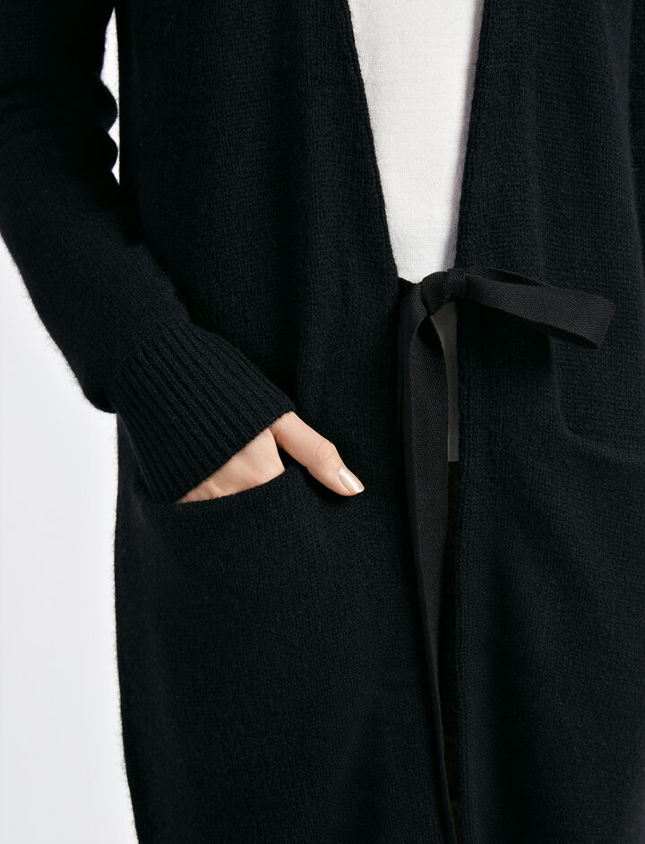 Cardigan long ouvert en cachemire, in BLACK, large | on Joseph
