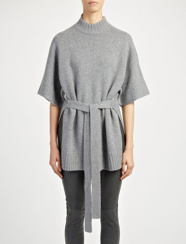 Cashmere Luxe Short Sleeve Sweater, in CONCRETE, large   on Joseph