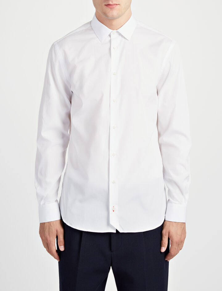 Poplin John Shirt, in WHITE, large | on Joseph