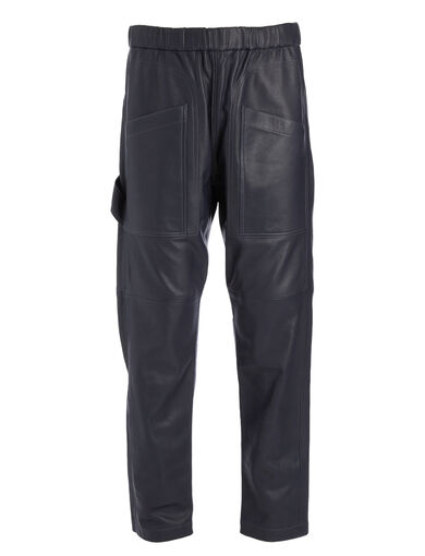 Matt Nappa Leather Parret Trousers, in NAVY, large | on Joseph