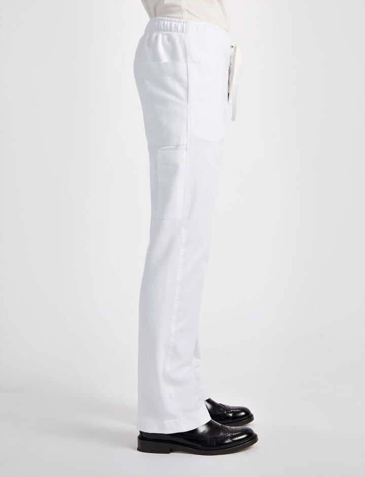Linen Cotton and Sweatshirt Trouser, in WHITE, large | on Joseph