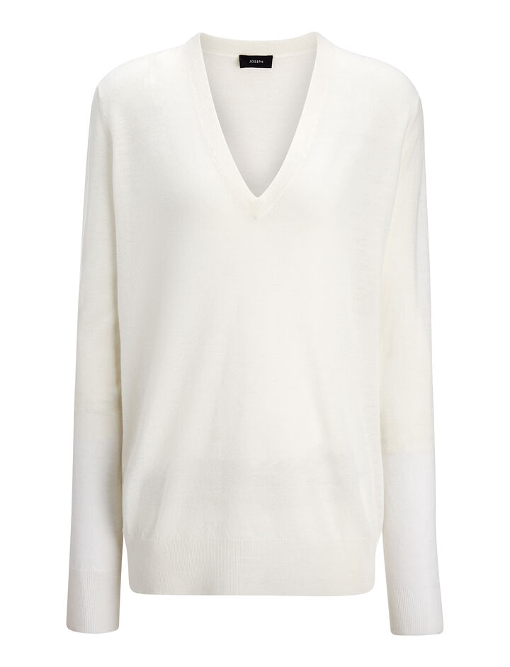 Cashair and Patch V Neck Sweater, in BONE, large | on Joseph