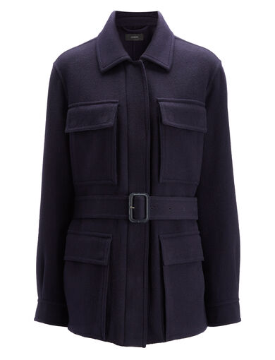Light Double Cashmere Riga Coat, in NAVY, large | on Joseph