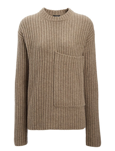 Military Knit Sweater, in TAUPE, large | on Joseph