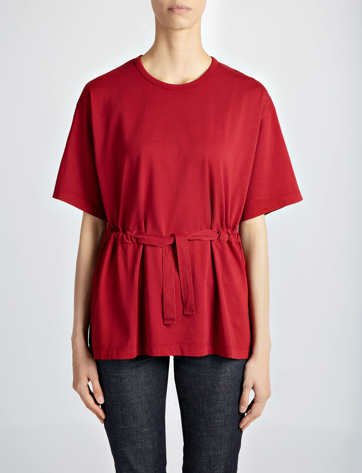 Garment Dyed Jersey Tee, in CRANBERRY, large | on Joseph