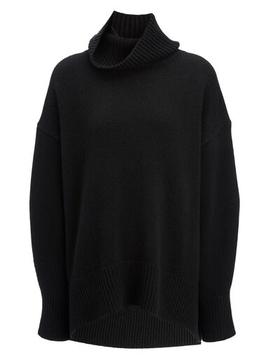 Cashmere Luxe High Neck Sweater, in BLACK, large | on Joseph