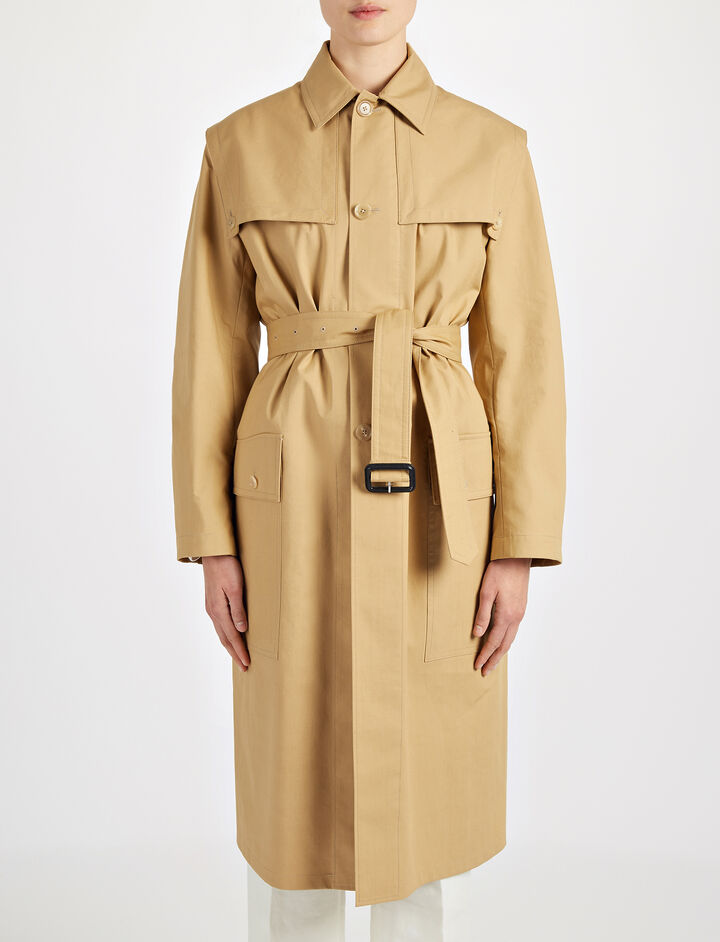 Bonded Cotton Marquee Coat, in CAMEL, large | on Joseph