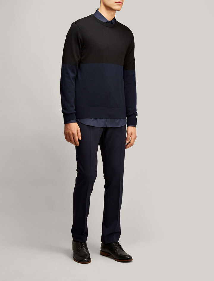 Joseph, Merinos Novelty Knit, in BLACK/NAVY