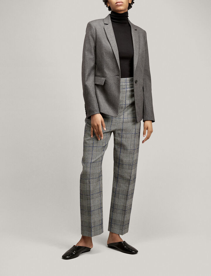 Joseph, Haim Textured Check Trousers, in BLACK
