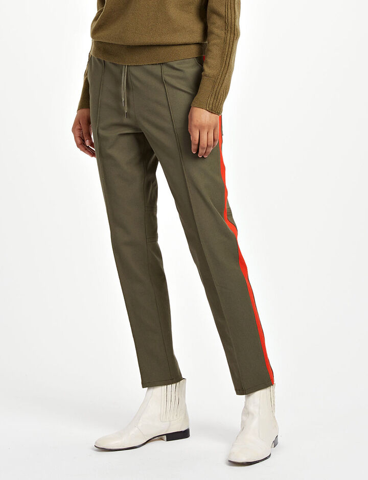 Pantalon de tailleur Base en gabardine stretch, in ARMY/RED, large | on Joseph