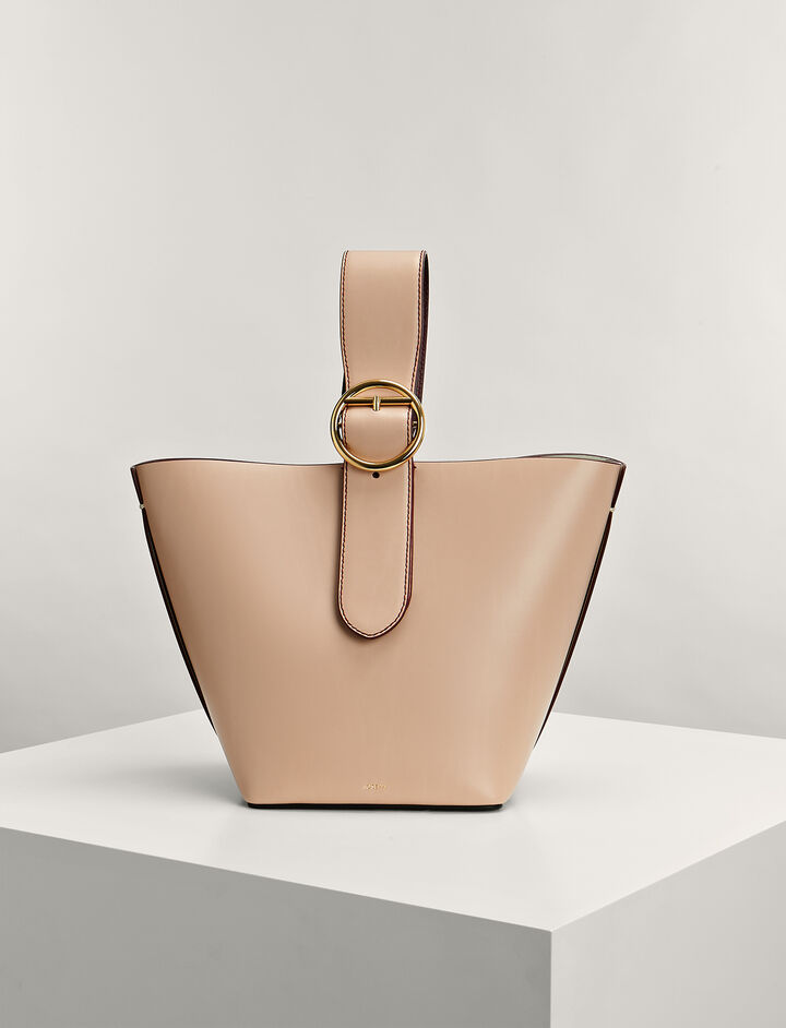 Calf-Leather Sevres Bucket-Bag, in PALE PINK, large | on Joseph