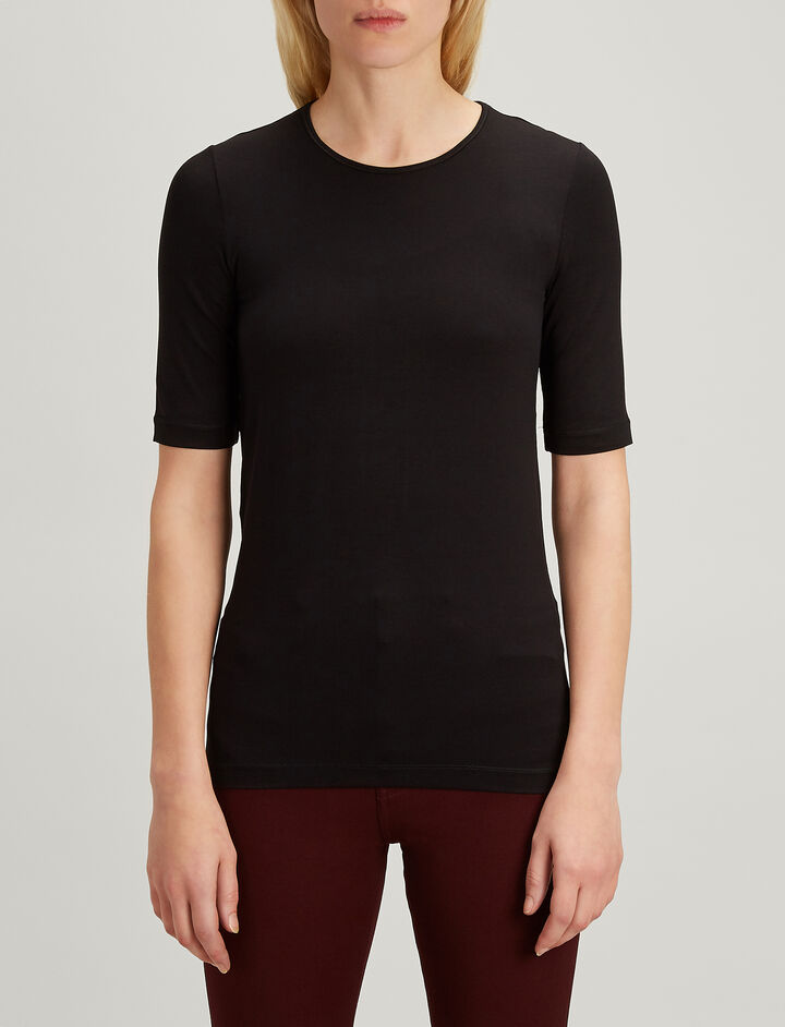 Joseph, Stretch Jersey Round Neck Tee, in BLACK