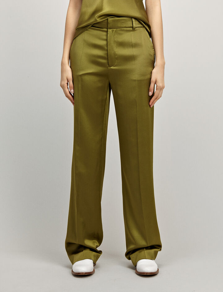 Silk Satin Ferdy Trouser, in PEA, large | on Joseph