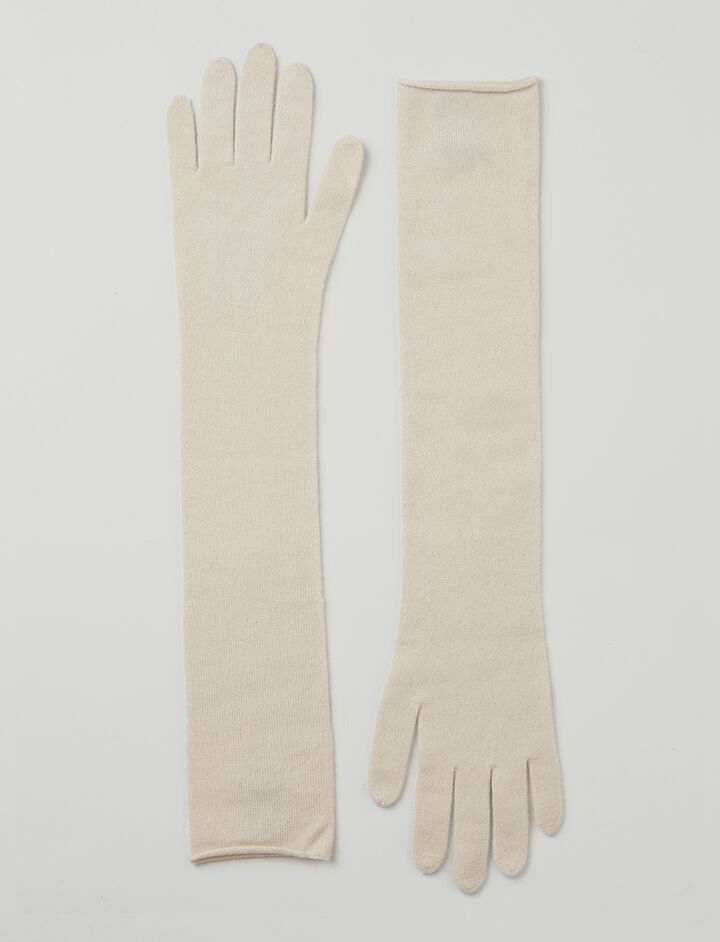 Mongolian Cashmere Gloves, in ECRU, large | on Joseph