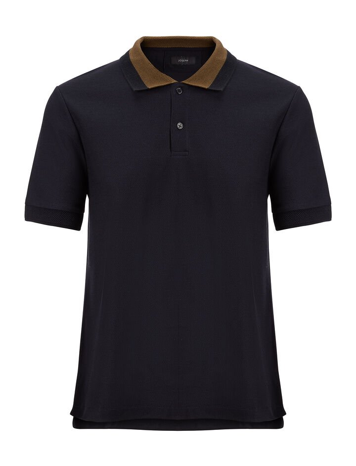 Joseph, Cotton Pique Polo, in NAVY