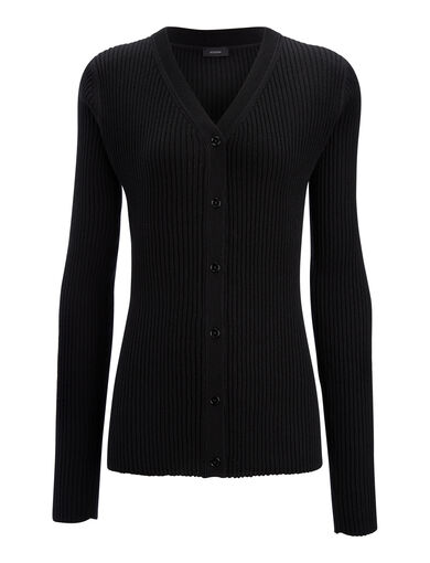 Wool Silk Cash Rib V Neck Cardigan, in BLACK, large | on Joseph