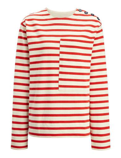 Breton Stripe Top, in RUBY, large | on Joseph