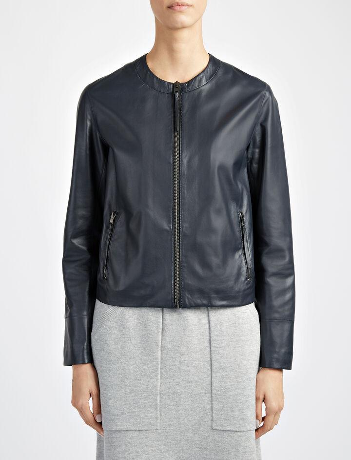 Matt Nappa Leather Alya Jacket, in NAVY, large   on Joseph