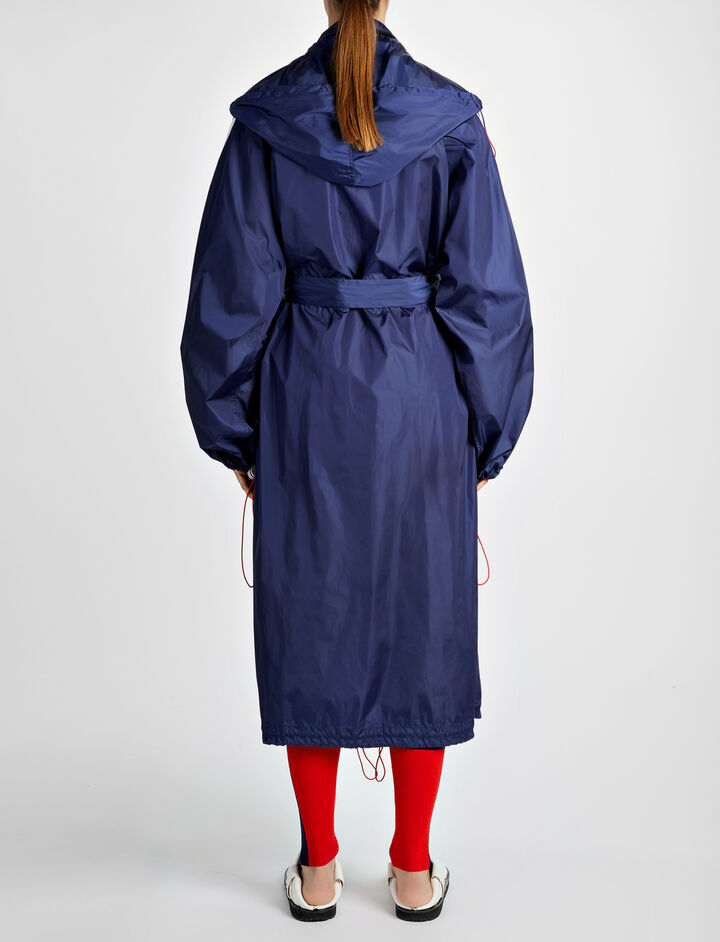 Nylon Skip Long Coat, in NAVY, large | on Joseph