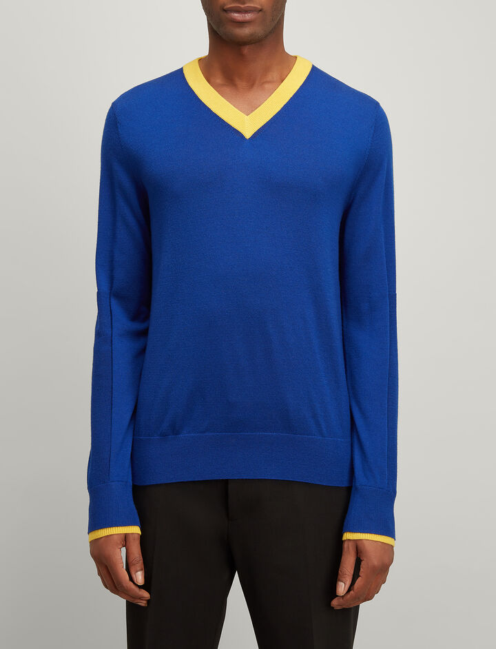 Rib Patch Merinos V Neck Sweater, in COBALT BLUE, large | on Joseph