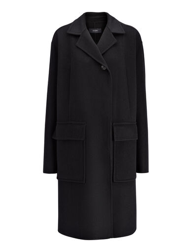 Manteau Caplan en laine double, in BLACK, large | on Joseph