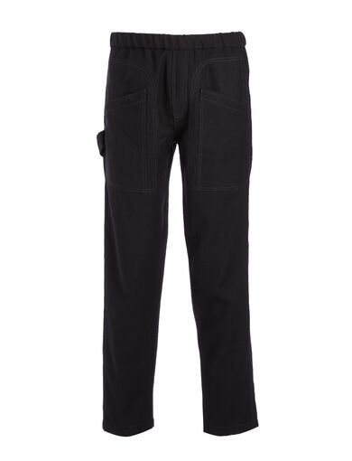 Washed Flannel Avon Trousers, in BLACK, large | on Joseph