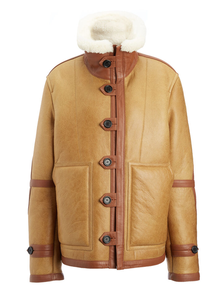 Cracked Leather Witham Sheepskin, in COGNAC, large | on Joseph