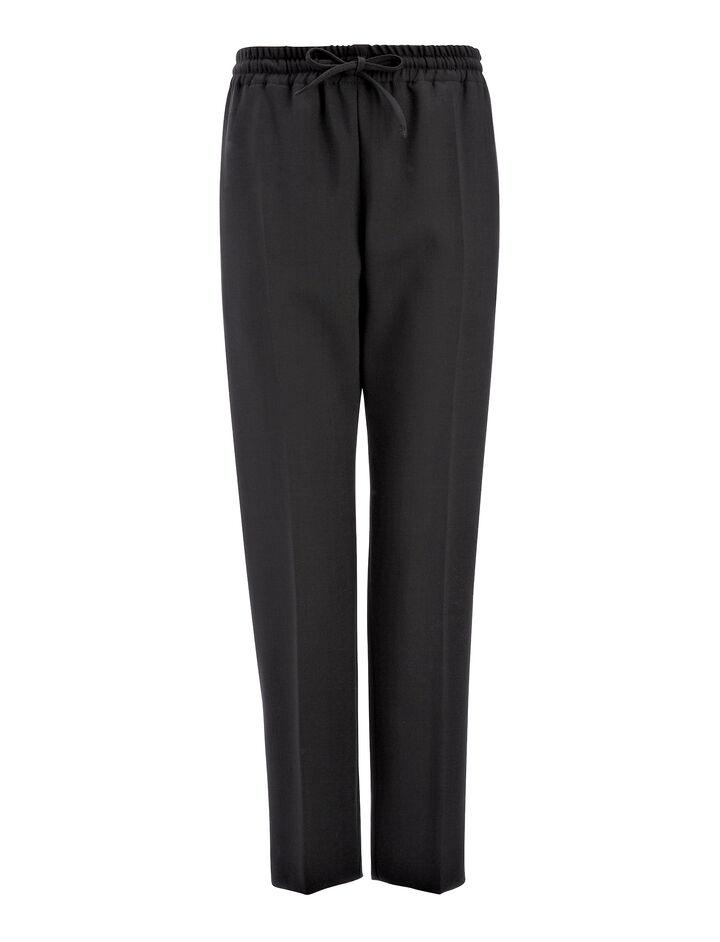 Stretch Wool Louna Trouser, in BLACK, large | on Joseph
