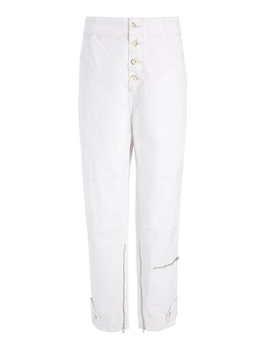 Washed Cotton Kann Trouser, in WHITE, large | on Joseph