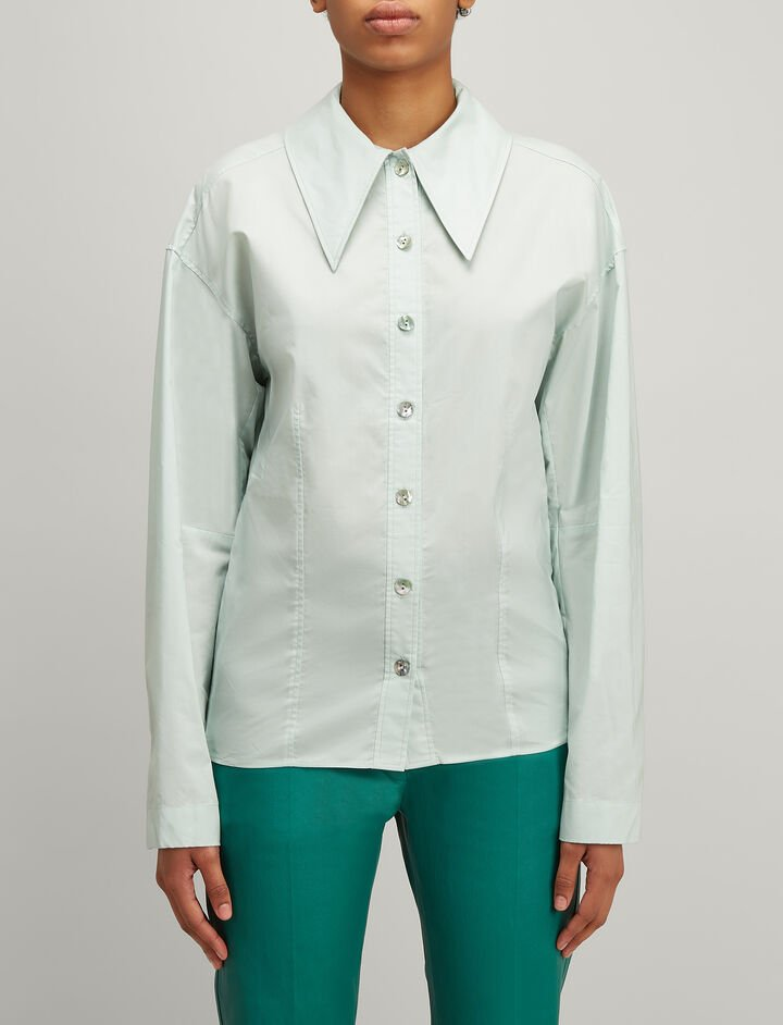 Chintz Cotton Reuben Shirt, in CELADON, large | on Joseph