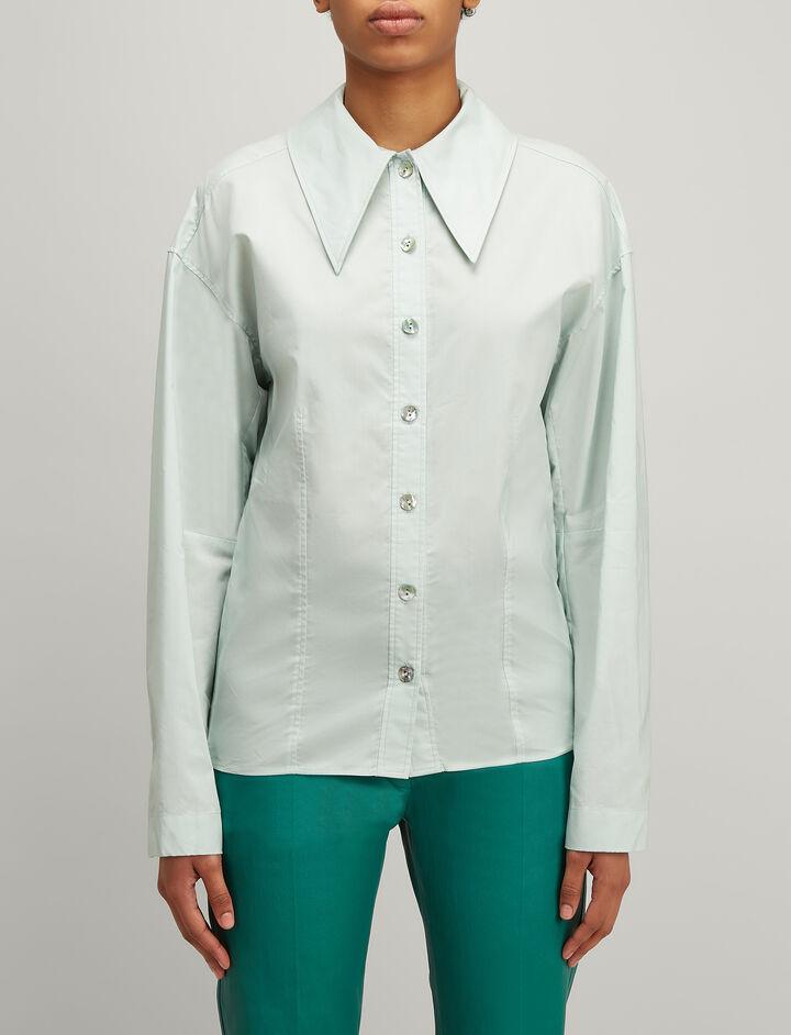 Chintz Cotton Reuben Shirt, in CELADON, large | on Joseph