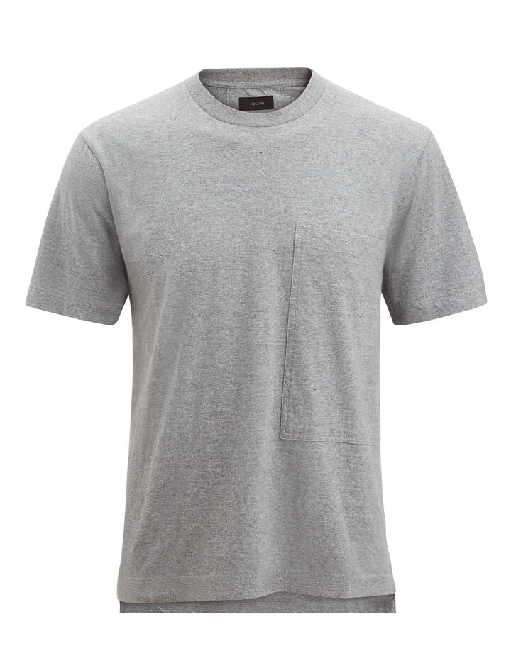 Joseph, Recycled Cotton Tee, in GREY CHINE