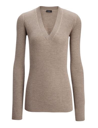Wool Silk Cashmere Rib V Neck Top, in DARK BEIGE, large | on Joseph