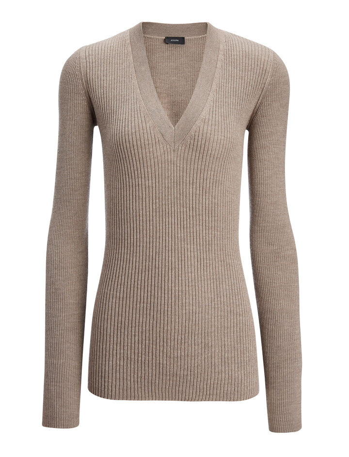 Wool Silk Cashmere Rib V Neck Top, in DARK BEIGE, large | on Joseph