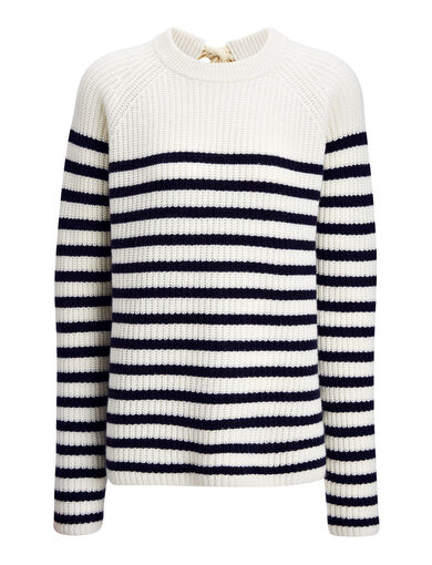 Sailor Stripe Cashmere Sweater, in NAVY, large | on Joseph