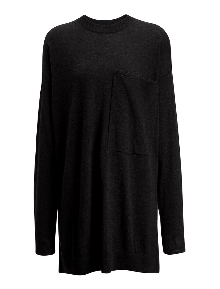 Fine Merinos Tunic, in BLACK, large | on Joseph