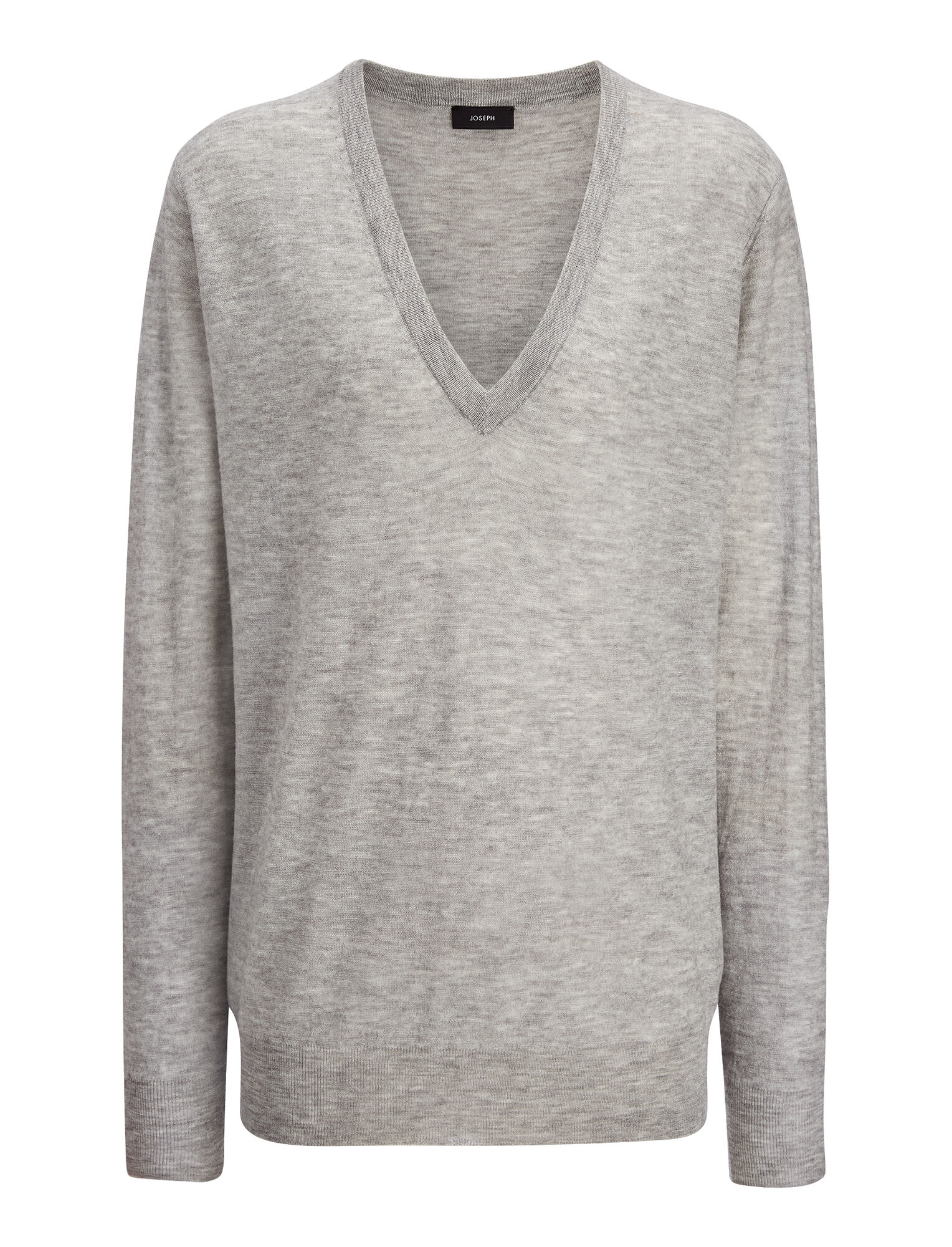 Joseph, Cashair V Neck Sweater, in GREY CHINE