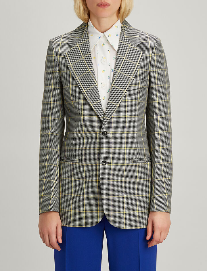Prince of Wales Check Grimaud Blazer, in GREY/BLACK, large | on Joseph