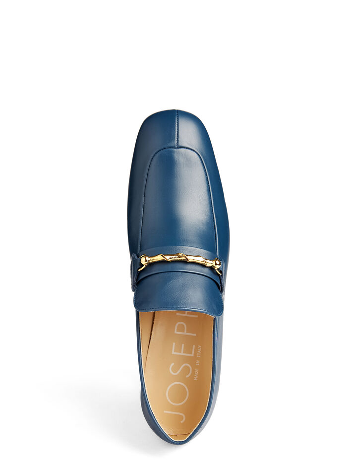 Calf Leather Heeled Loafer, in BLUE, large | on Joseph