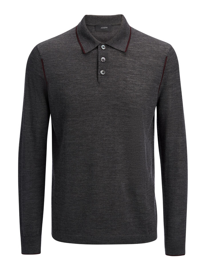 Light Merinos Polo, in CHARCOAL, large | on Joseph