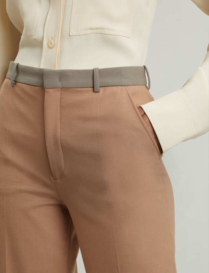 Joseph, New Tropez Comfort Wool Trousers, in DARK CAMEL