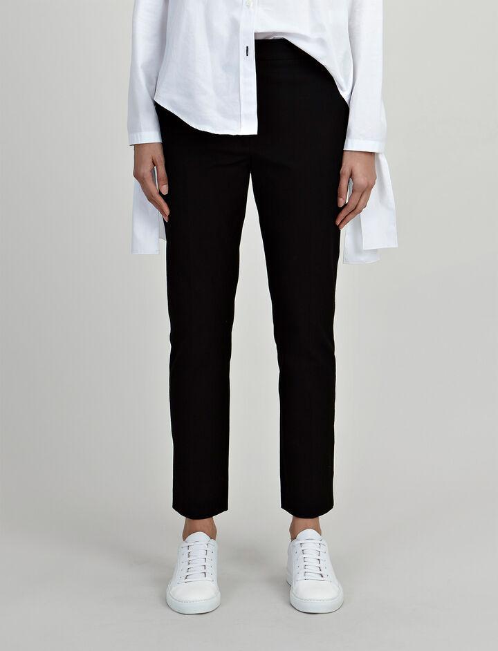 Gabardine Stretch Zoom Trousers, in BLACK, large   on Joseph