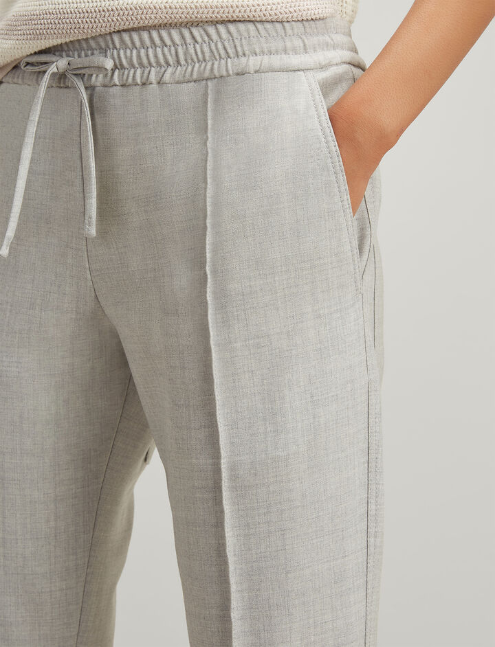 Comfort Wool Lound Trousers, in GREY CHINE, large | on Joseph