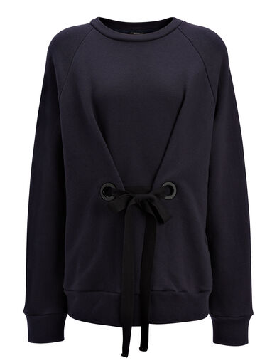 Loop Back Eyelet Sweater, in NAVY, large | on Joseph
